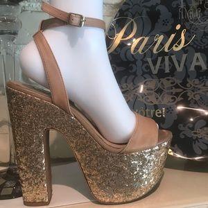 Wild Pair 7.5 gold platform heels